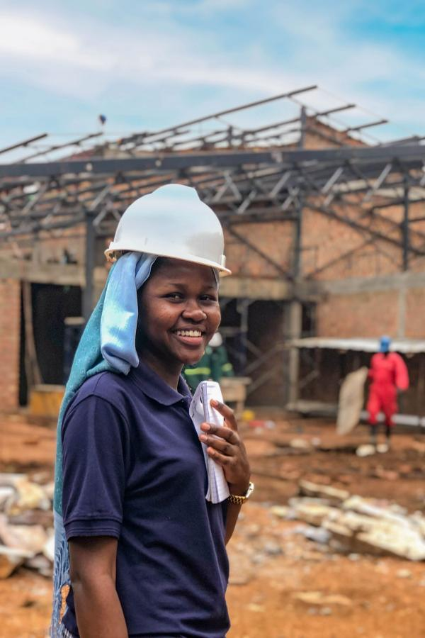 Hedina at a construction site